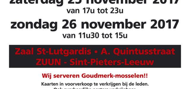 VK 'T Gareel nodigt u uit op hun 36ste Mossel- en steakkermis op vrijdag 24/11/17 vanaf 18u tot 22u, zaterdag 25/11/17 vanaf 17u tot 23u en op zondag 26/11/17 vanaf […]